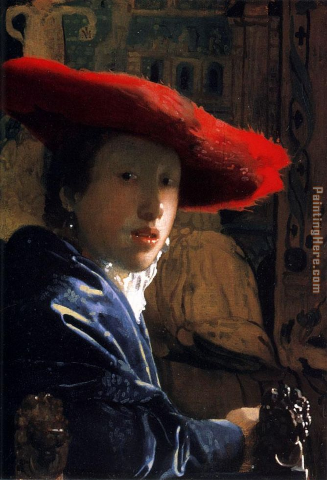 Girl with a Red Hat painting - Johannes Vermeer Girl with a Red Hat art painting