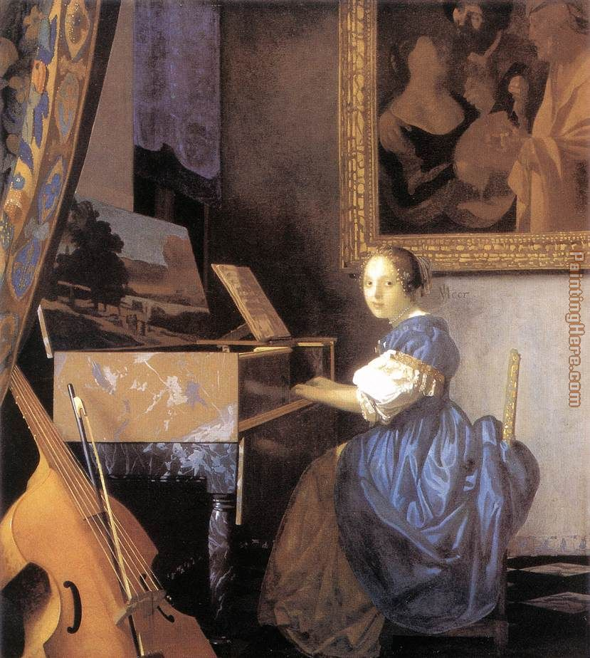 Lady Seated at a Virginal painting - Johannes Vermeer Lady Seated at a Virginal art painting