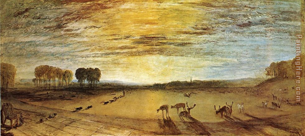 Petworth Park Tillington Church in the Distance painting - Joseph Mallord William Turner Petworth Park Tillington Church in the Distance art painting