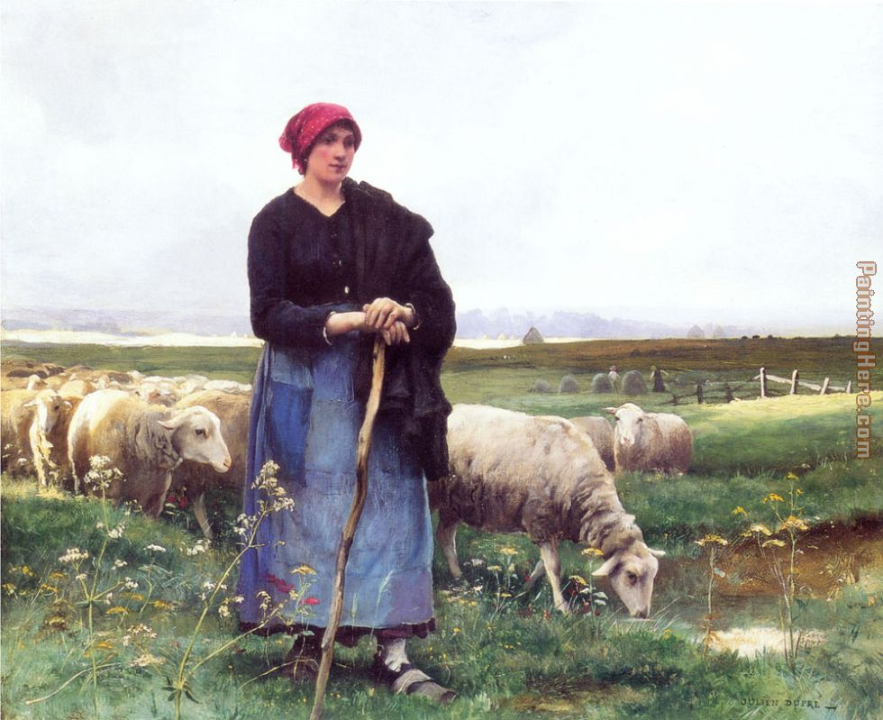 A Shepherdess with her flock painting - Julien Dupre A Shepherdess with her flock art painting