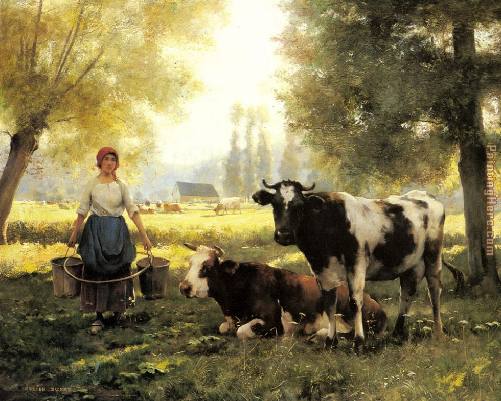 Julien Dupre A Milkmaid with her Cows on a Summer Day Art Painting