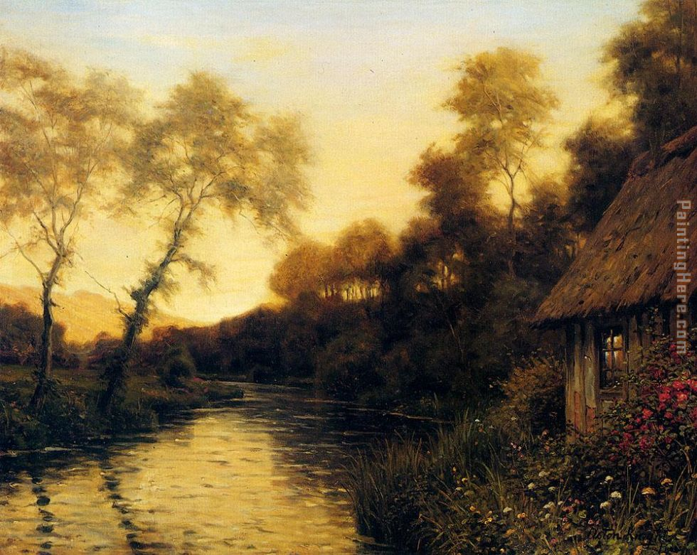 A French River Landscape At Sunset painting - Louis Aston Knight A French River Landscape At Sunset art painting