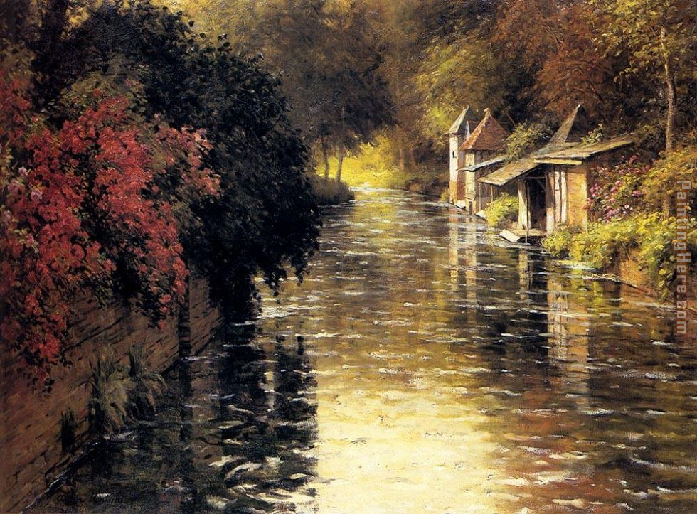 A French River Landscape painting - Louis Aston Knight A French River Landscape art painting