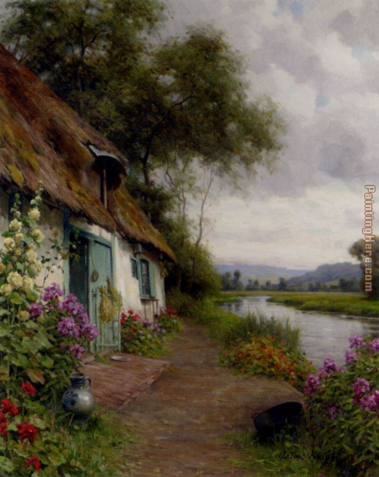 Louis Aston Knight A Riverside Cottage Art Painting