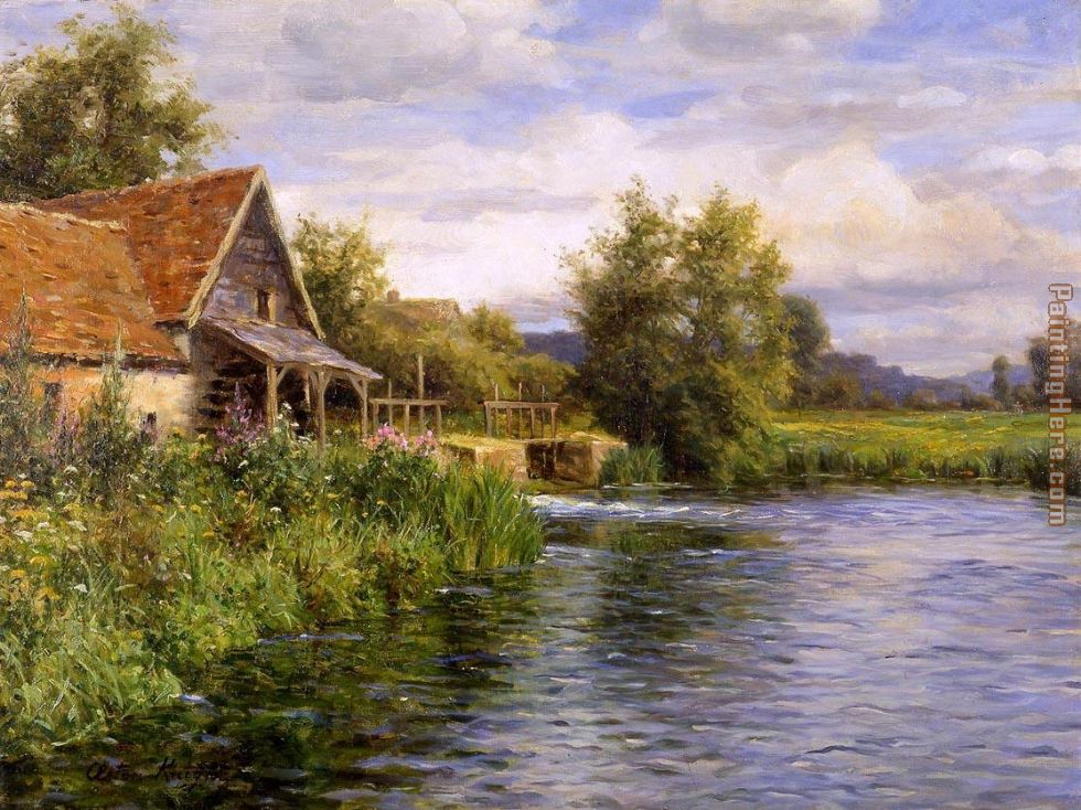 Louis Aston Knight Cottage by the River Art Painting