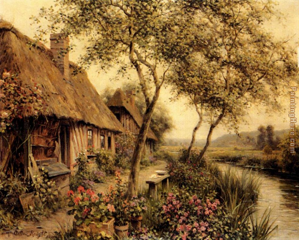 Louis Aston Knight Cottages Beside A River Art Painting
