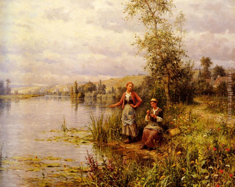 Country Women Fishing on a Summer Afternoon painting - Louis Aston Knight Country Women Fishing on a Summer Afternoon art painting