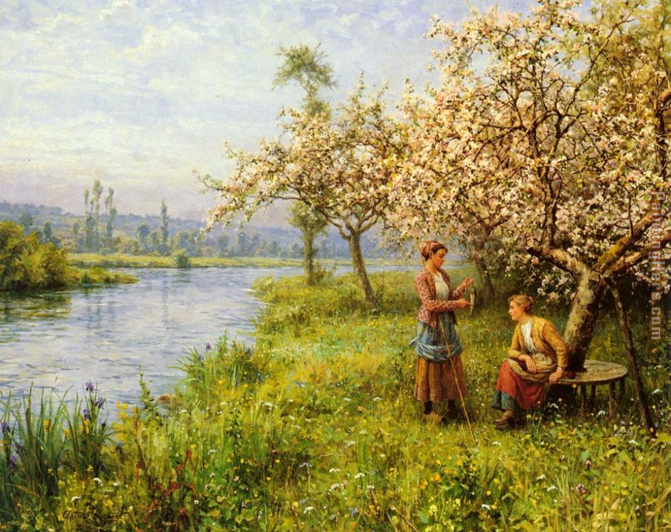 Country Women after Fishing on a Summer's Day painting - Louis Aston Knight Country Women after Fishing on a Summer's Day art painting