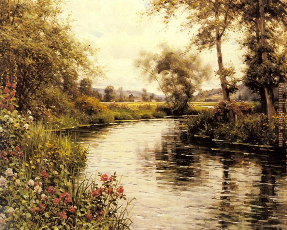 Flowers in Bloom by a River painting - Louis Aston Knight Flowers in Bloom by a River art painting