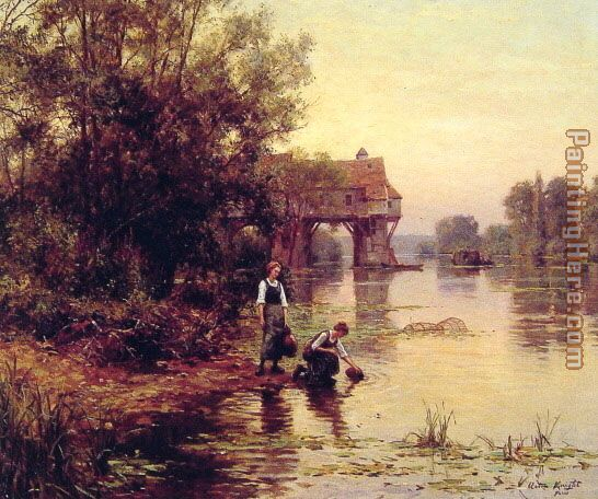 Louis Aston Knight Two Girls by a Stream Art Painting
