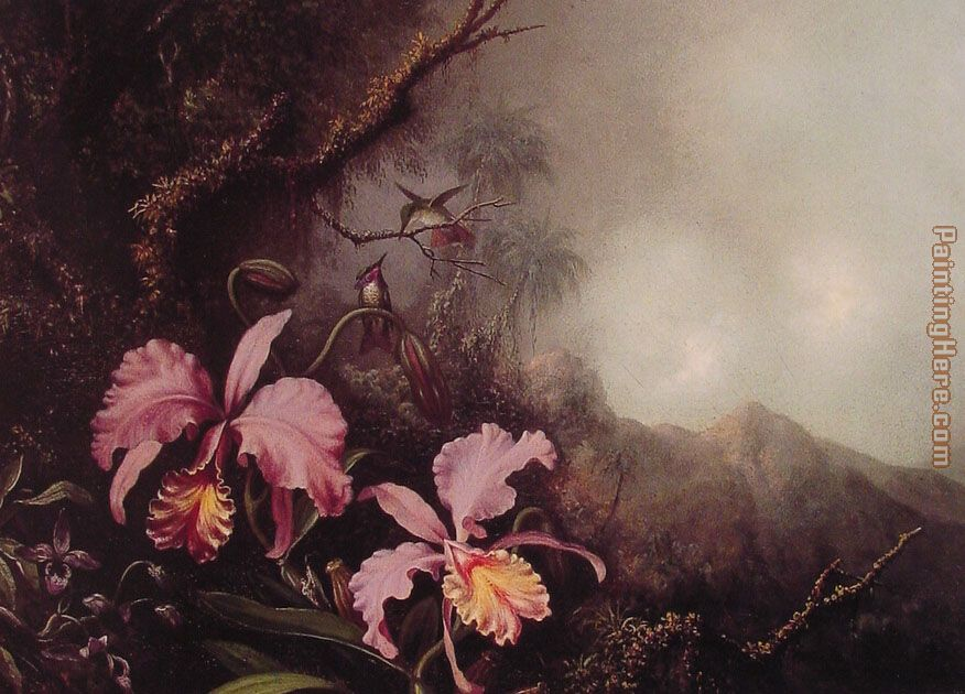 Two Orchids in a Mountain Landscape painting - Martin Johnson Heade Two Orchids in a Mountain Landscape art painting