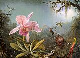 Cattelya Orchid and Three Brazilian Hummingbirds by Martin Johnson Heade