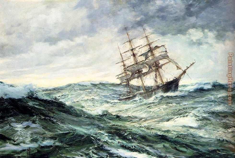 Montague Dawson A Ship In Stormy Seas Art Painting
