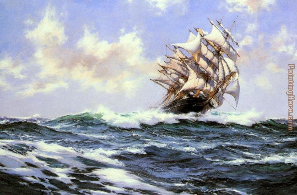 Montague Dawson Sun-Flecked Foam--The Barnabas Webb of Thomaston Art Painting