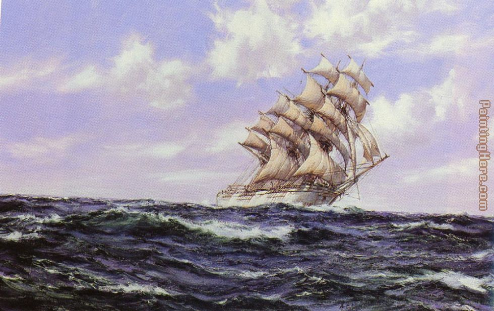The Abner Coburn. Fair Weather painting - Montague Dawson The Abner Coburn. Fair Weather art painting