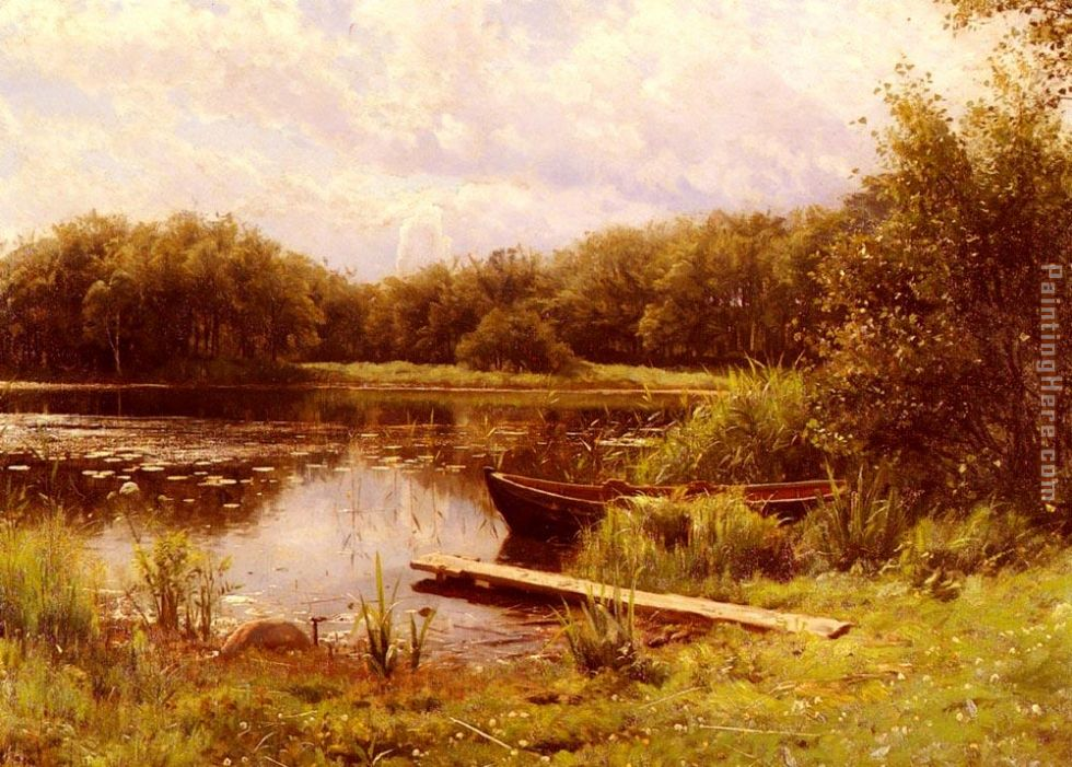 A Boat Moored On A Quiet Lak painting - Peder Mork Monsted A Boat Moored On A Quiet Lak art painting