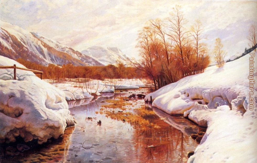 A Mountain Torrent In A Winter Landscape painting - Peder Mork Monsted A Mountain Torrent In A Winter Landscape art painting