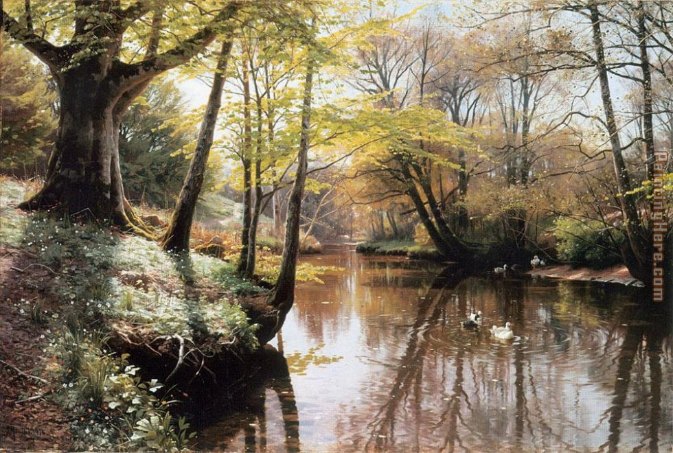 A River Landscape in Springtime painting - Peder Mork Monsted A River Landscape in Springtime art painting