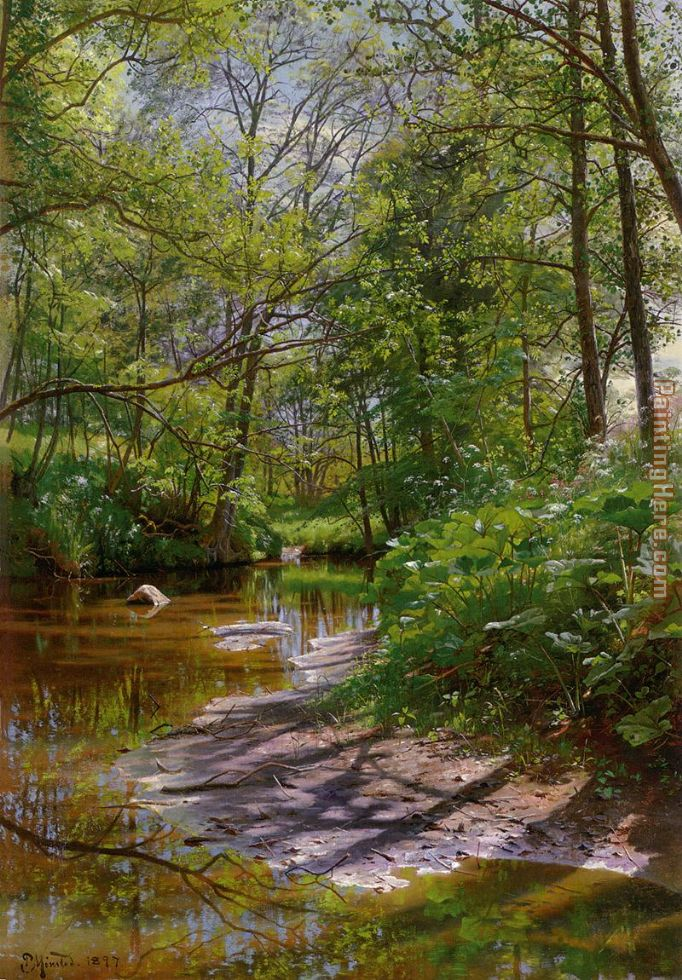 A River Landscape painting - Peder Mork Monsted A River Landscape art painting