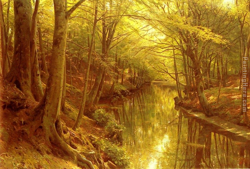 A Woodland Stream painting - Peder Mork Monsted A Woodland Stream art painting
