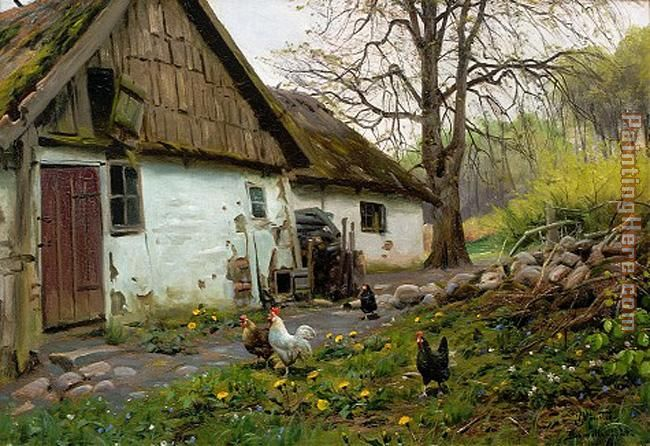 Bromolle Farm with Chickens painting - Peder Mork Monsted Bromolle Farm with Chickens art painting