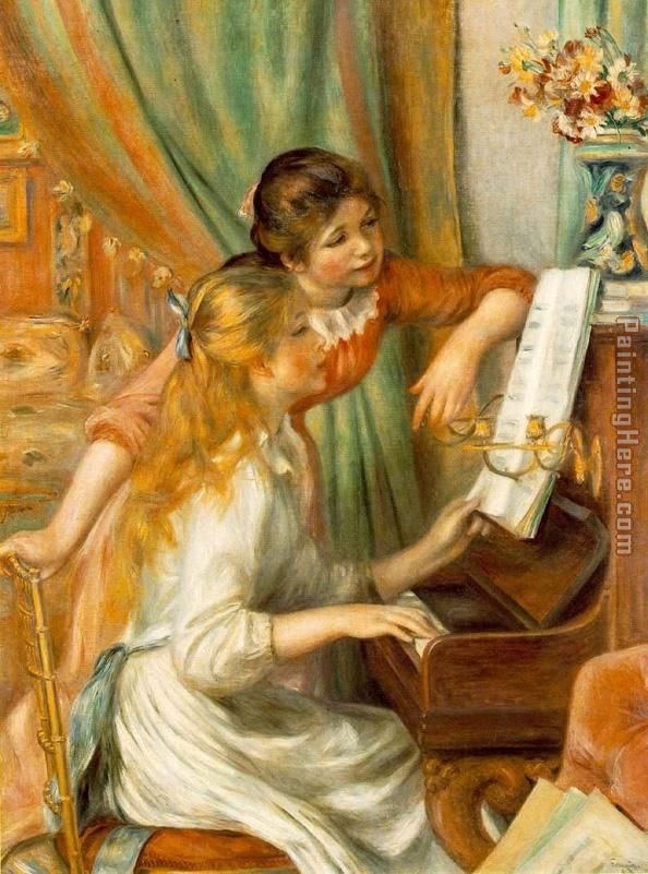 Girls at The Piano painting - Pierre Auguste Renoir Girls at The Piano art painting