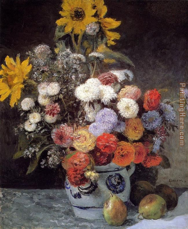 Mixed Flowers In An Earthware Pot painting - Pierre Auguste Renoir Mixed Flowers In An Earthware Pot art painting