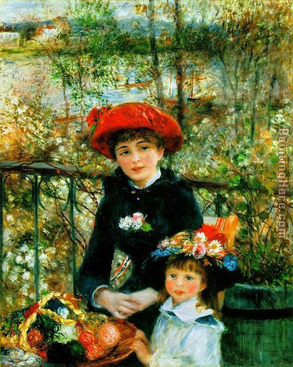 Two Sisters on the Terrace painting - Pierre Auguste Renoir Two Sisters on the Terrace art painting