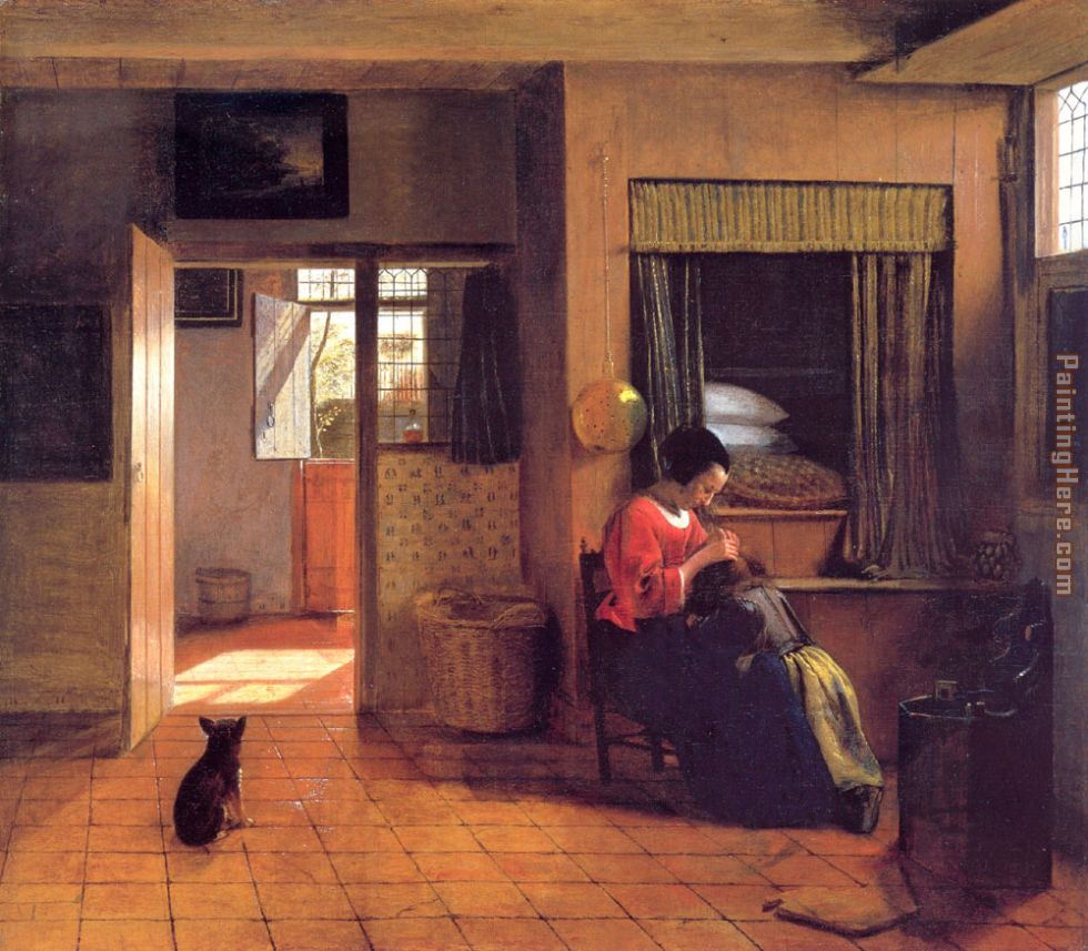A Mother and Child with Its Head in Her Lap painting - Pieter de Hooch A Mother and Child with Its Head in Her Lap art painting