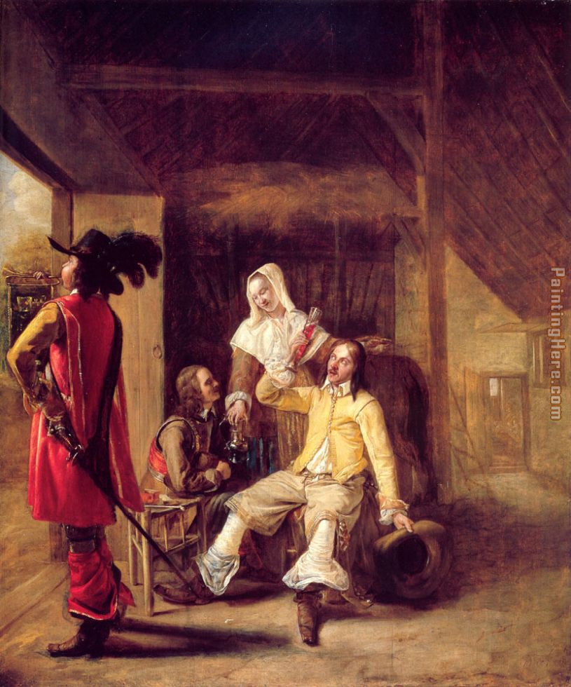 Two Soldiers and a Serving Woman with a Trumpeter painting - Pieter de Hooch Two Soldiers and a Serving Woman with a Trumpeter art painting