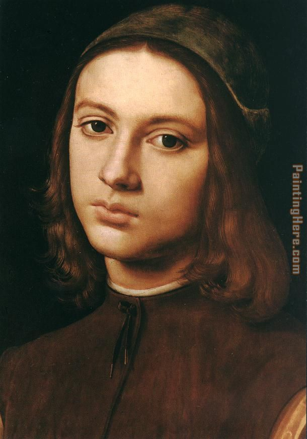 Pietro Perugino Portrait of a Young Man (detail) Art Painting