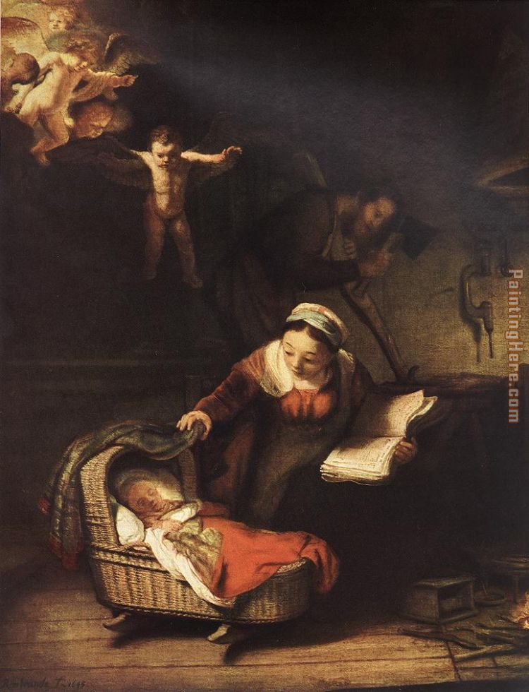 The Holy Family with Angels painting - Rembrandt The Holy Family with Angels art painting