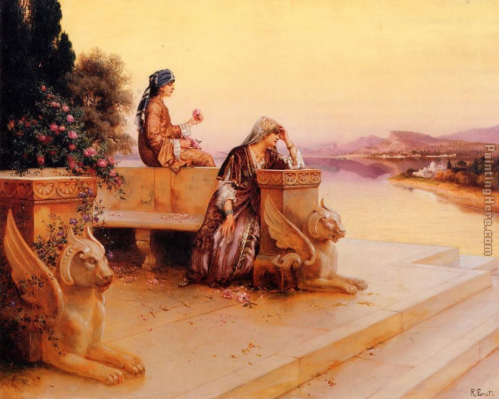 Elegant Arab Ladies on a Terrace at Sunset painting - Rudolf Ernst Elegant Arab Ladies on a Terrace at Sunset art painting