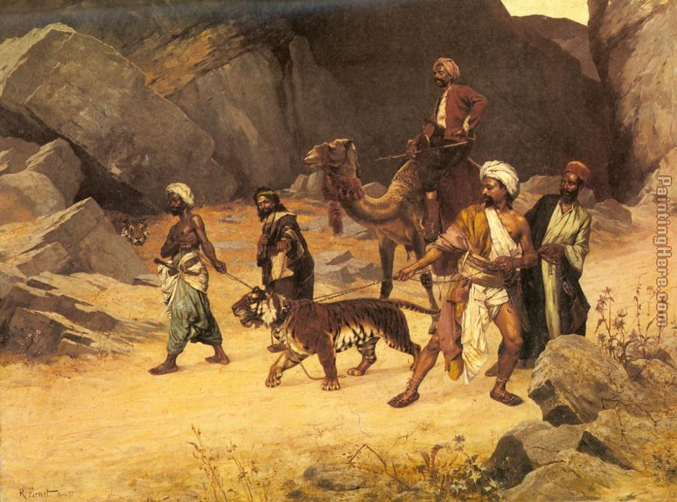 The Tiger Hunt painting - Rudolf Ernst The Tiger Hunt art painting