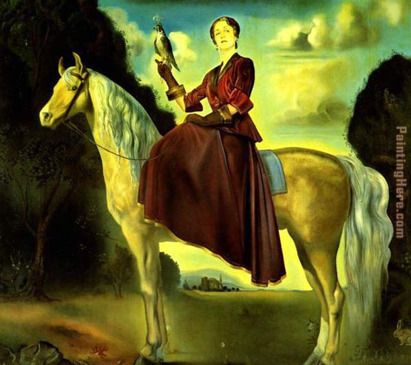 Salvador dali equestrian fantasy portrait of lady dunn painting