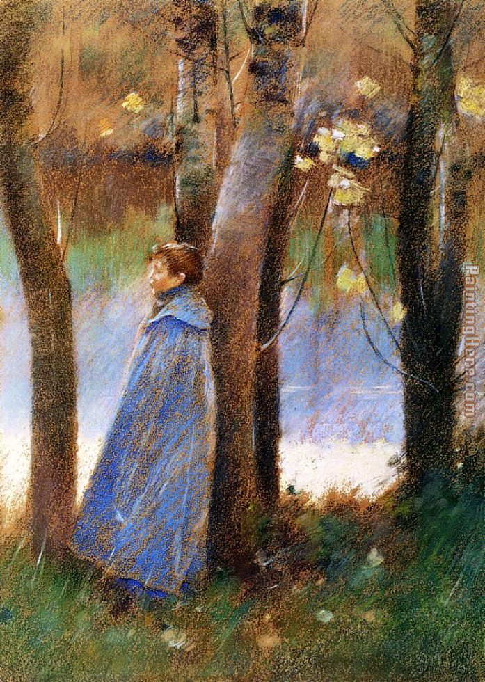 Theodore Robinson Figure in a Landscape Art Painting