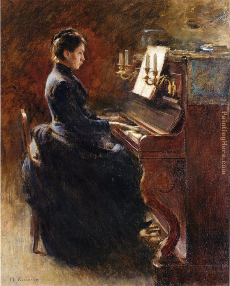 Girl at Piano painting - Theodore Robinson Girl at Piano art painting