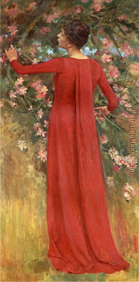 The Red Gown painting - Theodore Robinson The Red Gown art painting