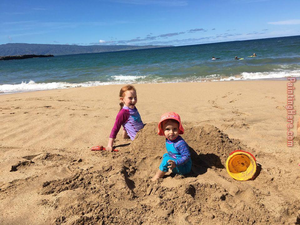 Children On The Beach Ii Painting Unknown Artist Art