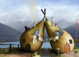 Unknown Artist - Twin Pear Houses Cristal Reza