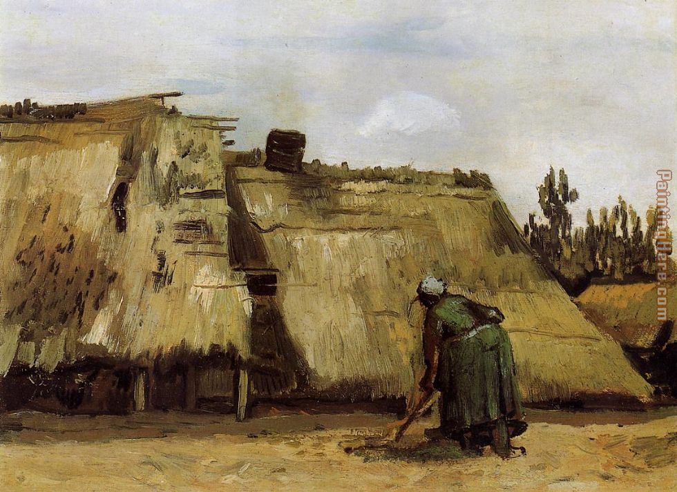 Vincent van Gogh Cottage with Woman Digging Art Painting