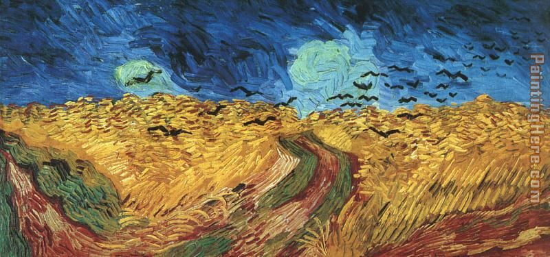 Wheatfield with Crows painting - Vincent van Gogh Wheatfield with Crows art painting