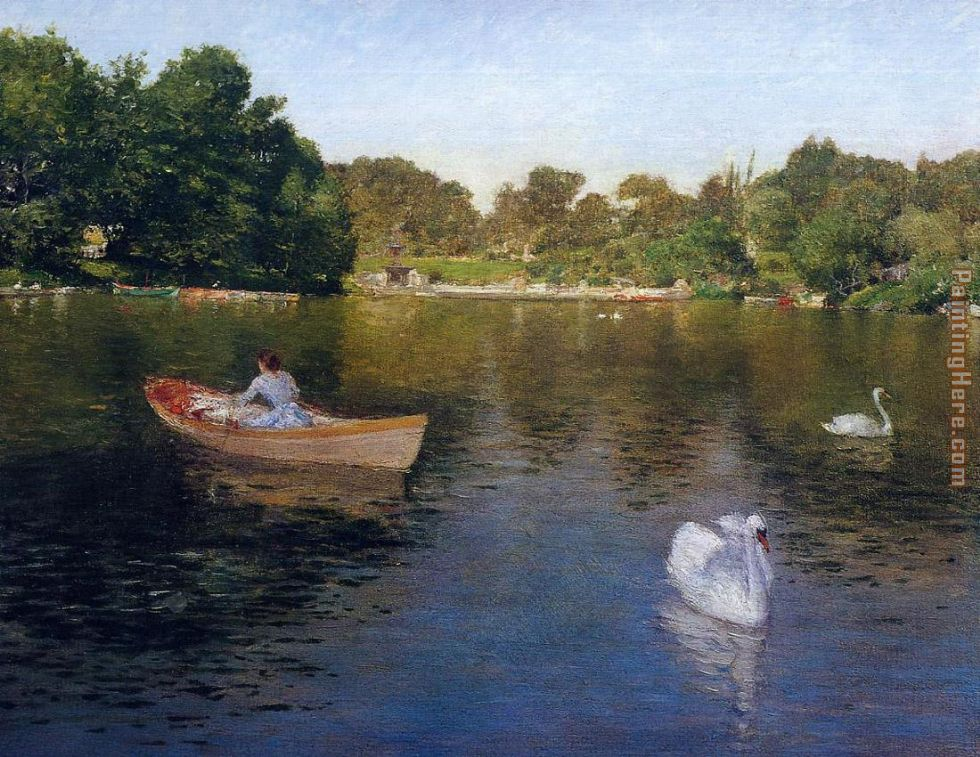 William Merritt Chase On the Lake Central Park Art Painting