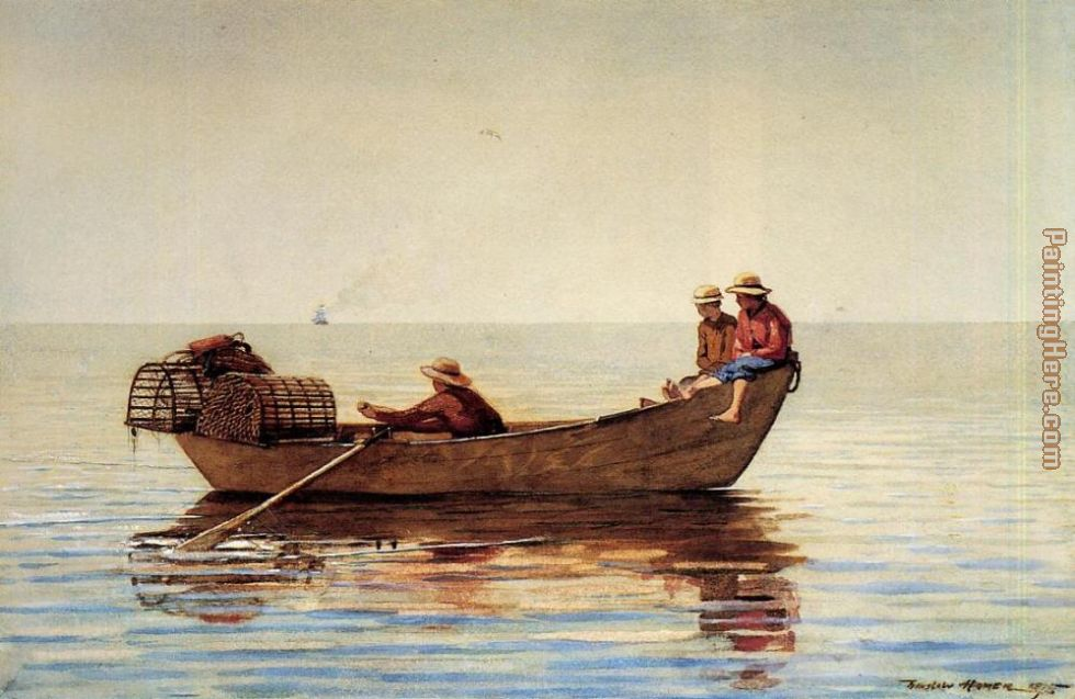 Winslow Homer Three Boys in a Dory with Lobster Pots Art Painting