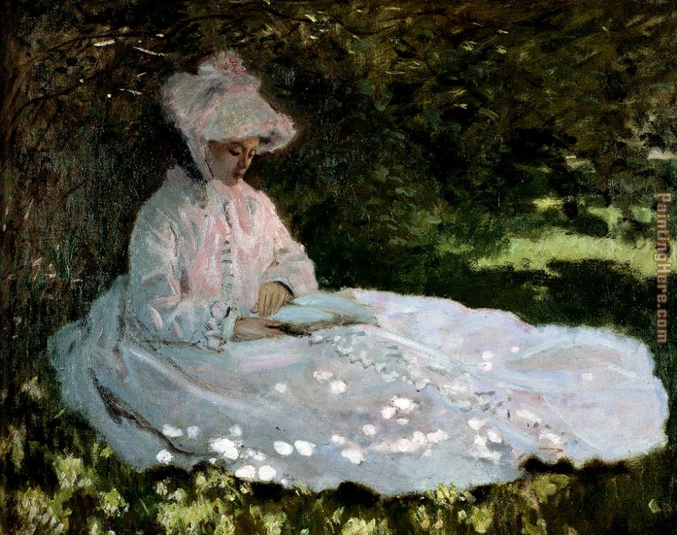 Claude Monet A Woman Reading Art Painting