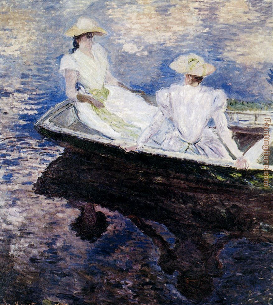Claude Monet Girls In A Boat Art Painting
