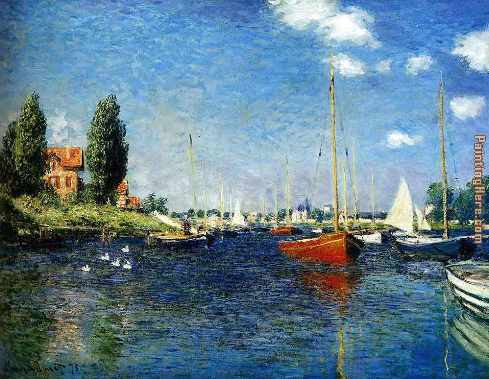 The Red Boats Argenteuil painting - Claude Monet The Red Boats Argenteuil art painting