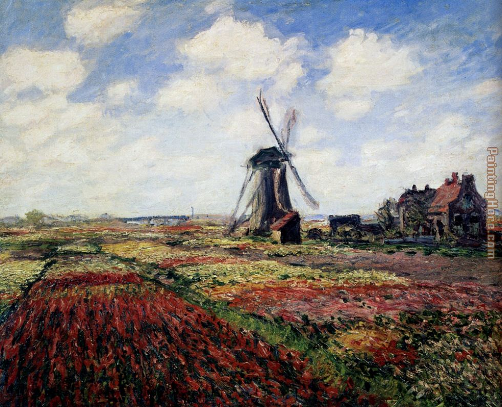 Tulip Fields With The Rijnsburg Windmill painting - Claude Monet Tulip Fields With The Rijnsburg Windmill art painting