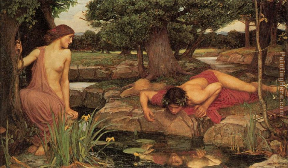 John William Waterhouse Echo and Narcissus Art Painting