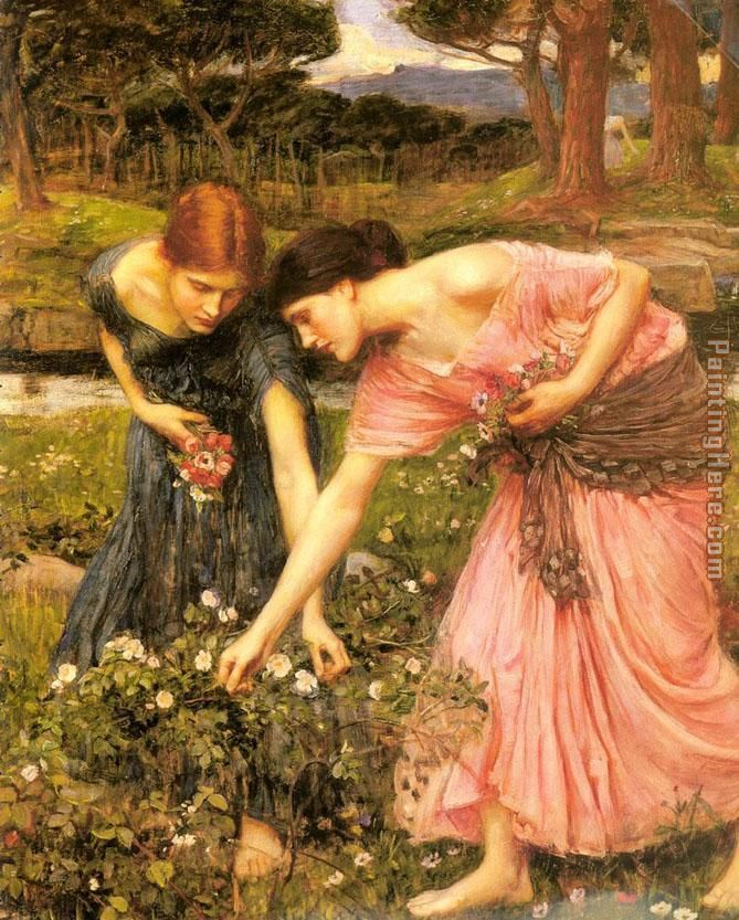Gather ye rosebuds while ye may painting - John William Waterhouse Gather ye rosebuds while ye may art painting
